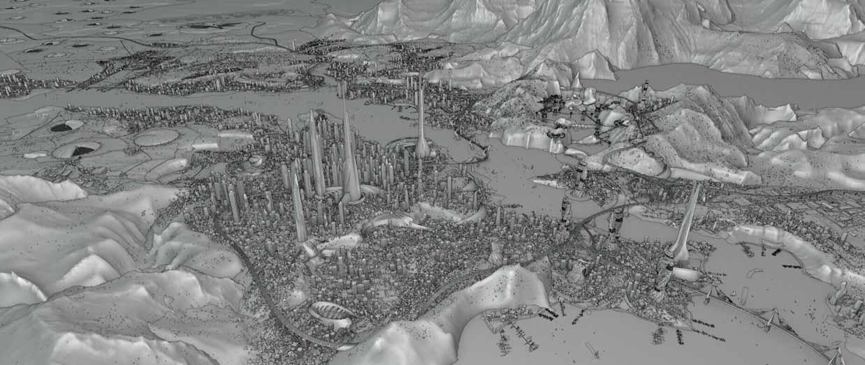 toàn cảnh hình ảnh thành phố mô hỉình 3D trong Blender